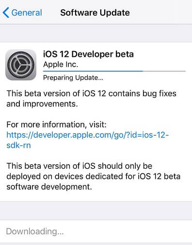 proses download dan install ios 12 developer beta