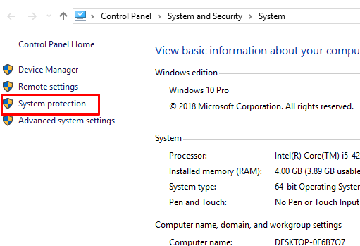 system protection pada windows 10