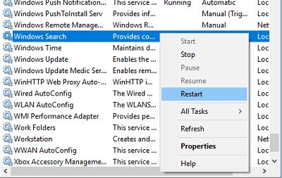 restart windows search services