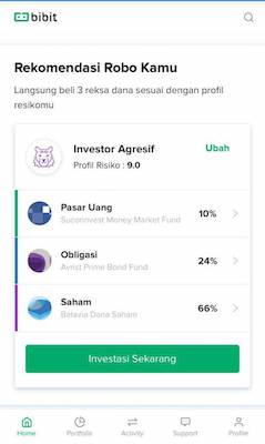 Tampilan Aplikasi Bibit (Investasi Reksadana)