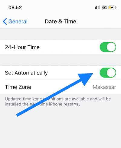 tidak bisa terhubung ke App Store karena lupa mengatur tanggal dan waktu